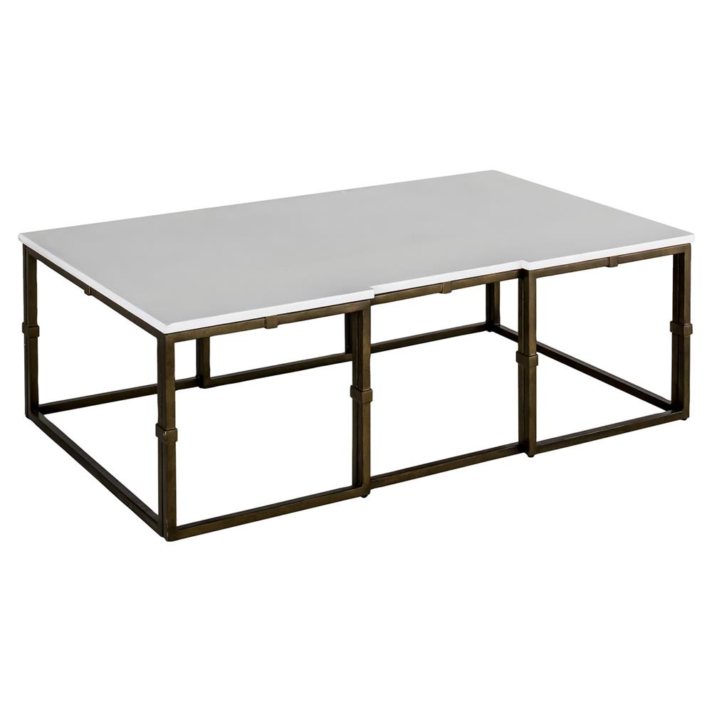 Contemporary Vintage Coffee Tables: Annabel Modern Antique Brass White Coffee Table