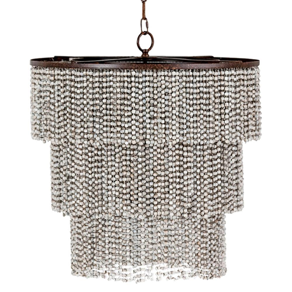 Vince coastal beach wood bead 3 tier chandelier kathy kuo home mozeypictures Image collections