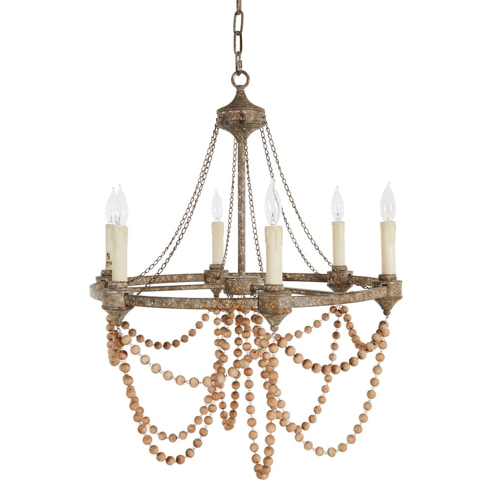 Auvergne french country rustic iron white bead chandelier for French country white