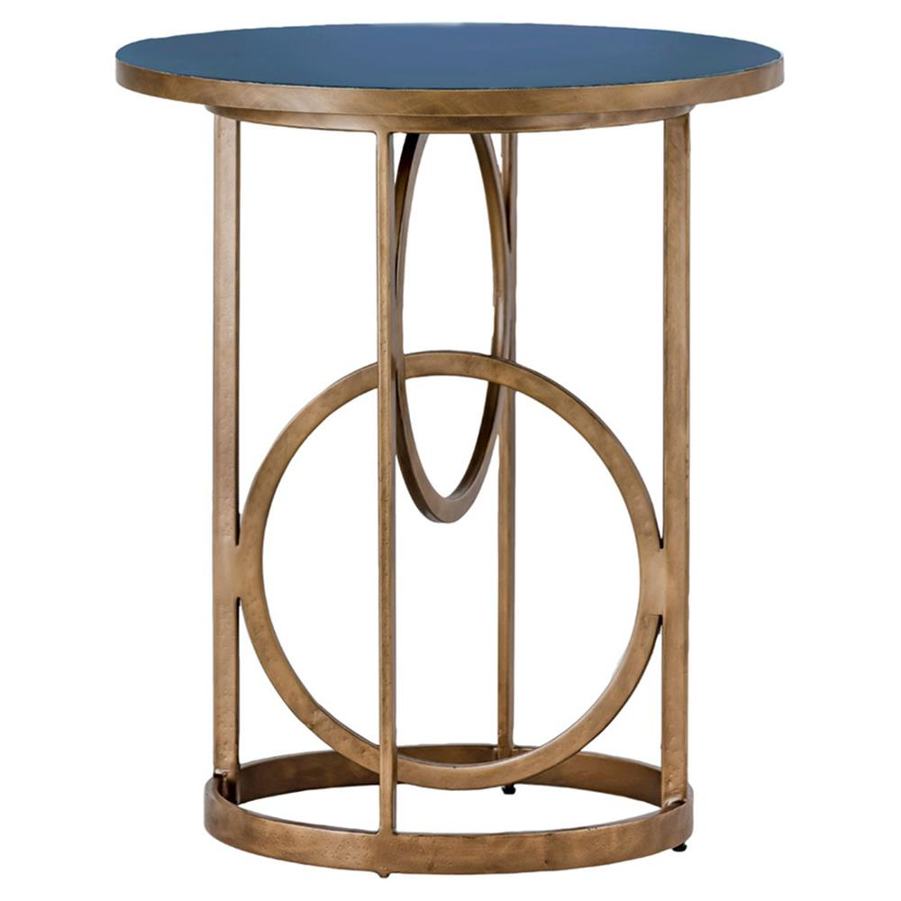 Cason Hollywood Gold Interlock Blue Seagrass End Table | Kathy Kuo Home