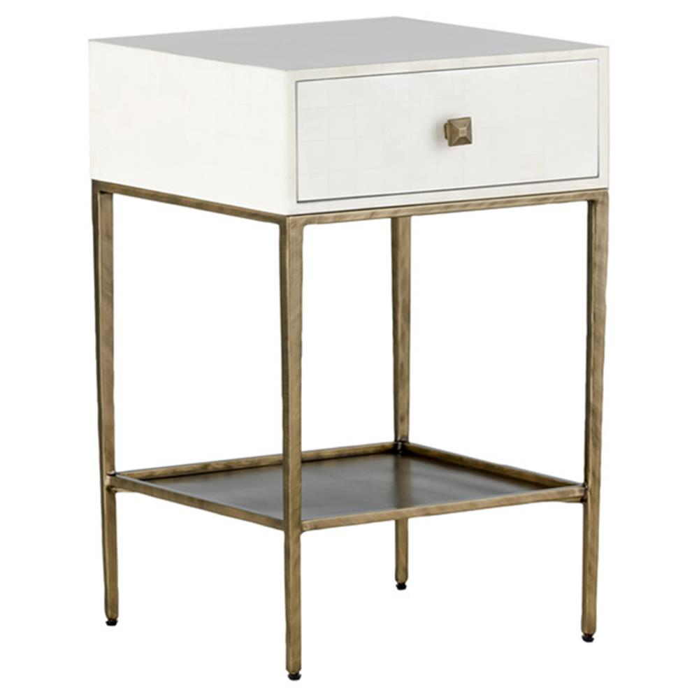 Nyla modern faux bone brushed brass nightstand kathy kuo home