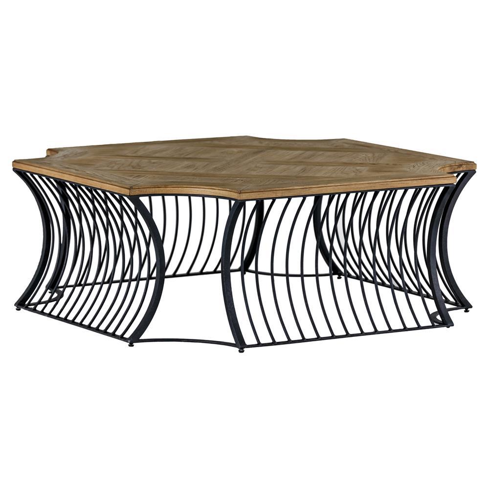 Asher industrial loft oak metal cross coffee table kathy kuo home Industrial metal coffee table