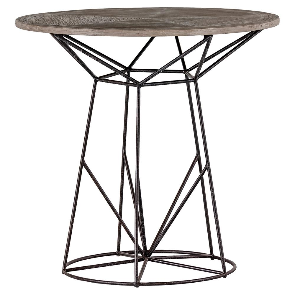 Justus Industrial Wire Frame Oak Bistro Table Kathy Kuo Home