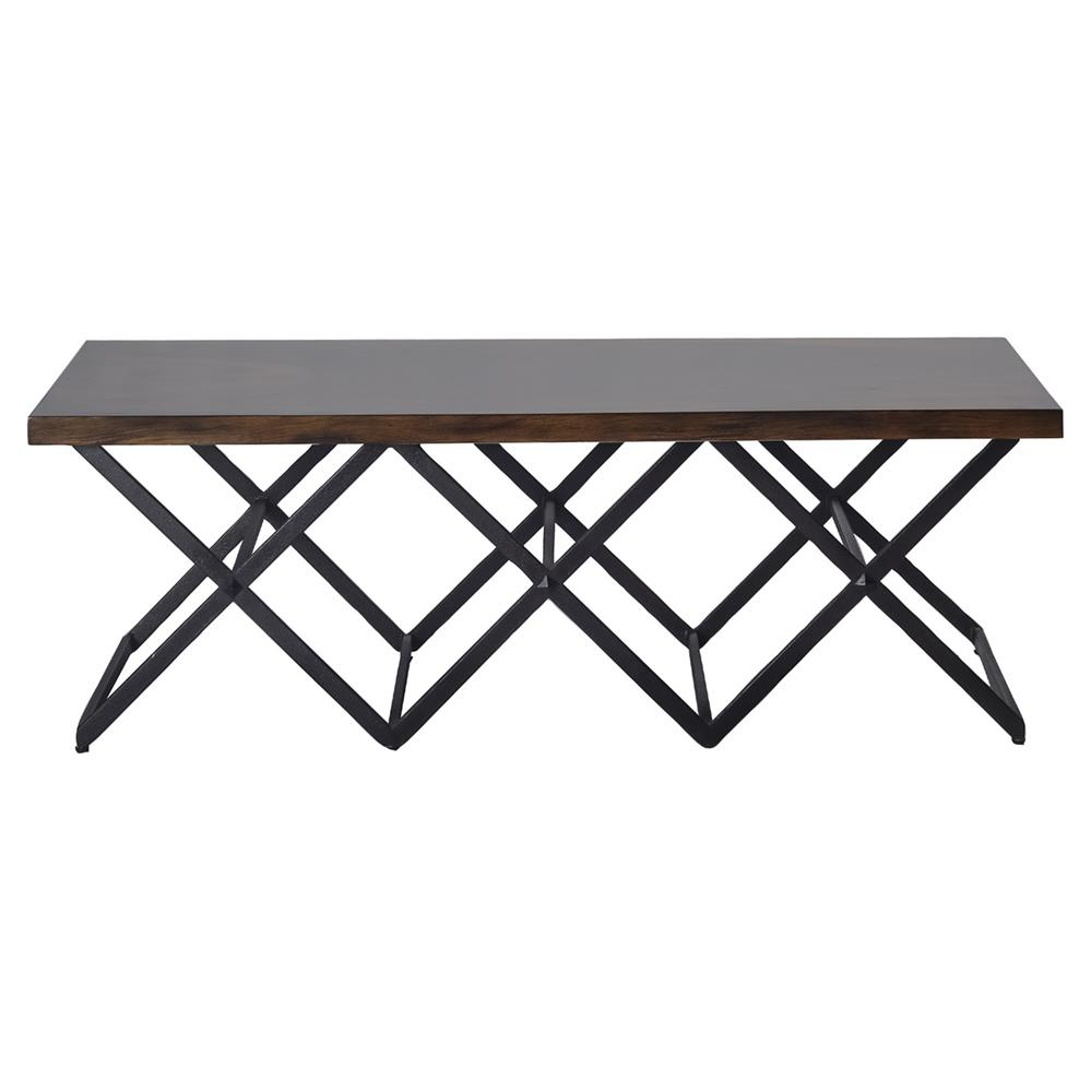 Irvin Industrial Loft Iron X Base Wood Coffee Table Kathy Kuo Home