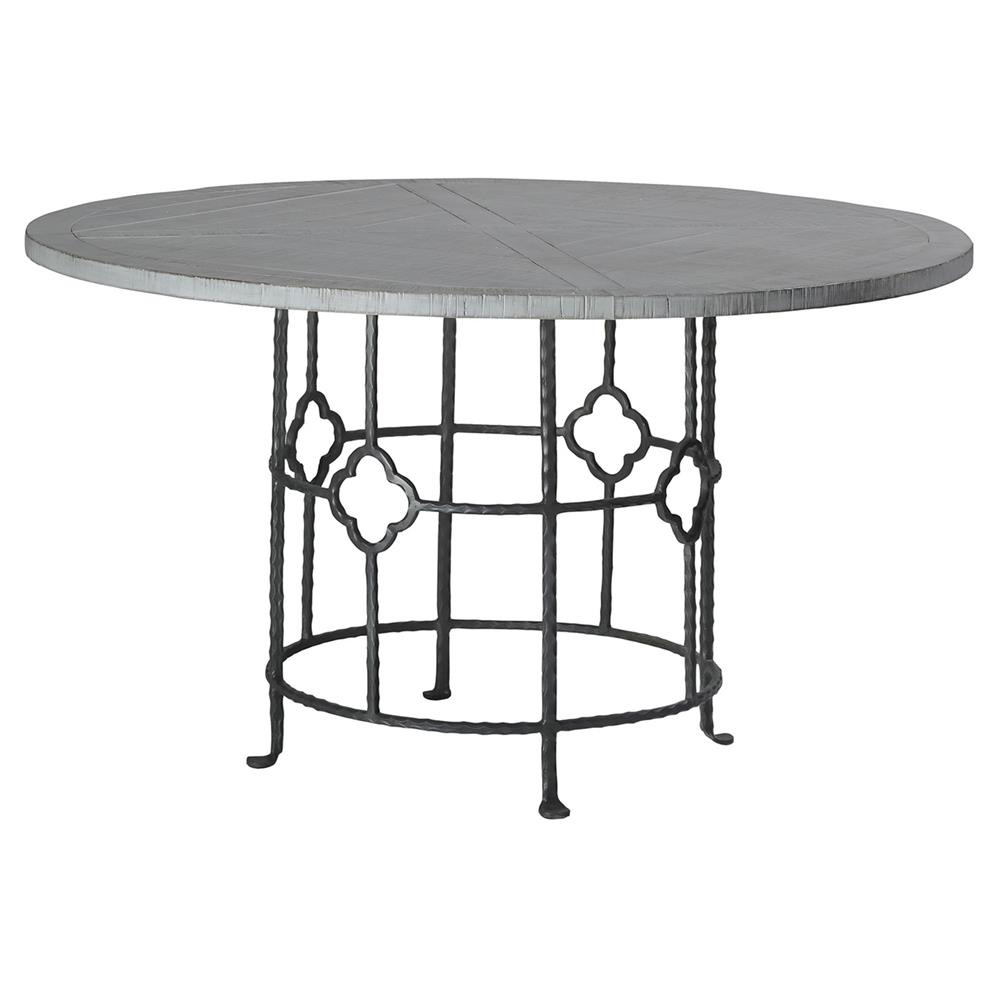 Industrial Round Dining Table: Gianni Industrial Floral Iron Oak Round Dining Table