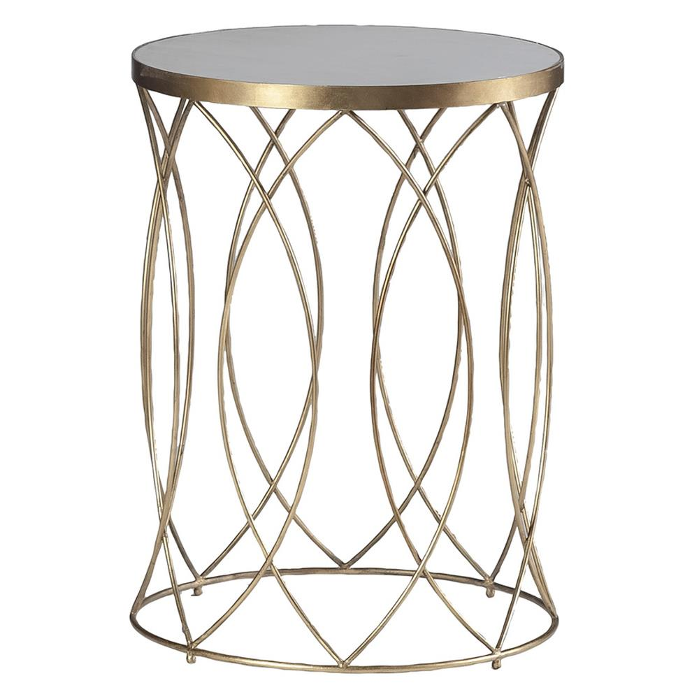 Audrina Regency Round Gold Marble End Table Kathy Kuo Home