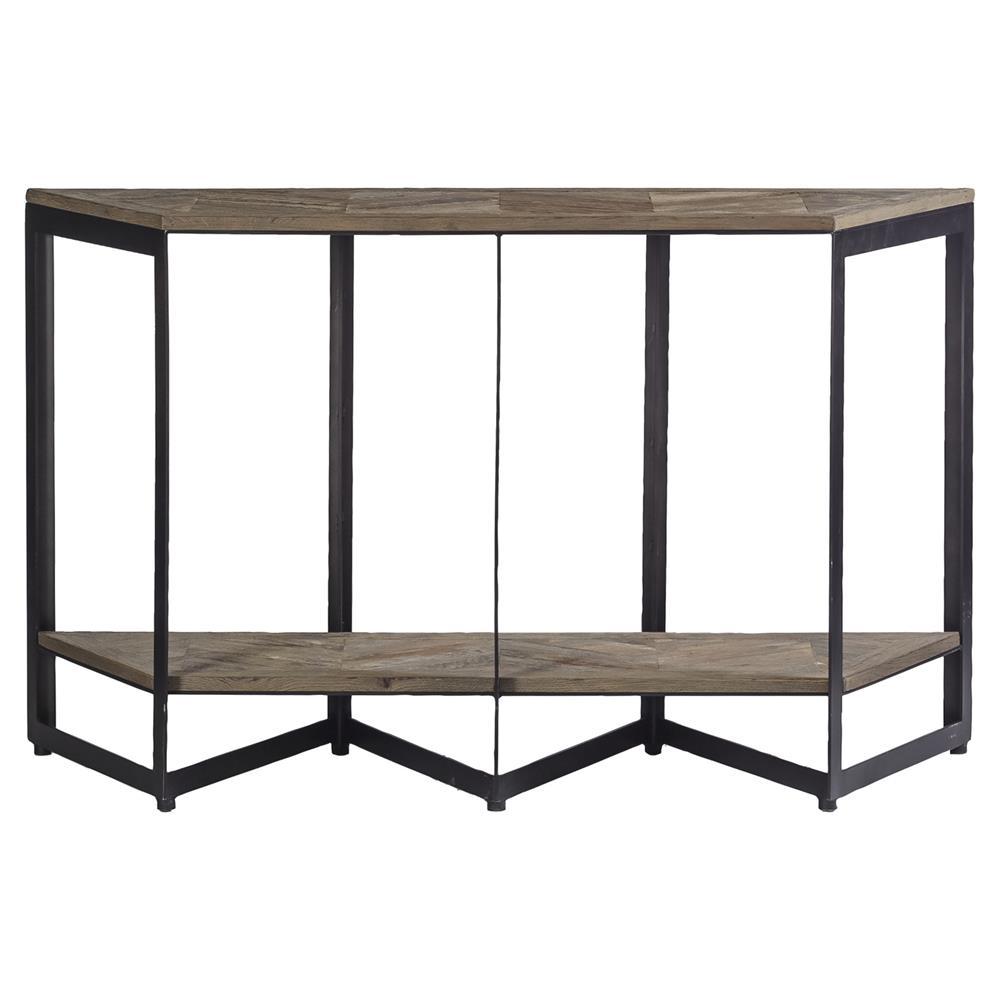 Ron rustic loft herringbone iron pine sofa table kathy