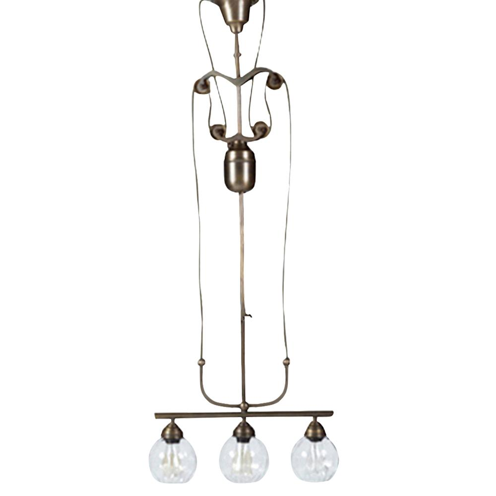 archimedes industrial loft antique brass 3 light pulley