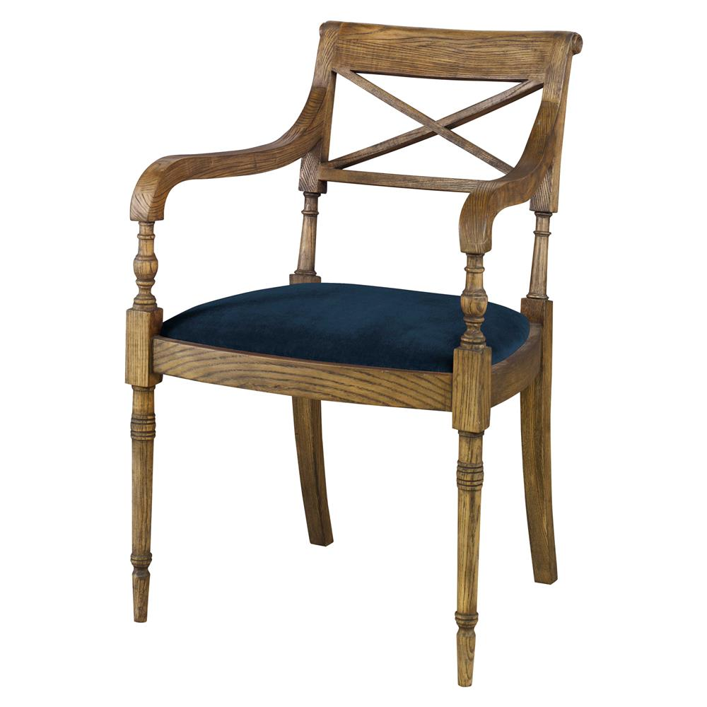 Vendee french rustic oak arm chair harbor blue velvet for Furniture oak harbor
