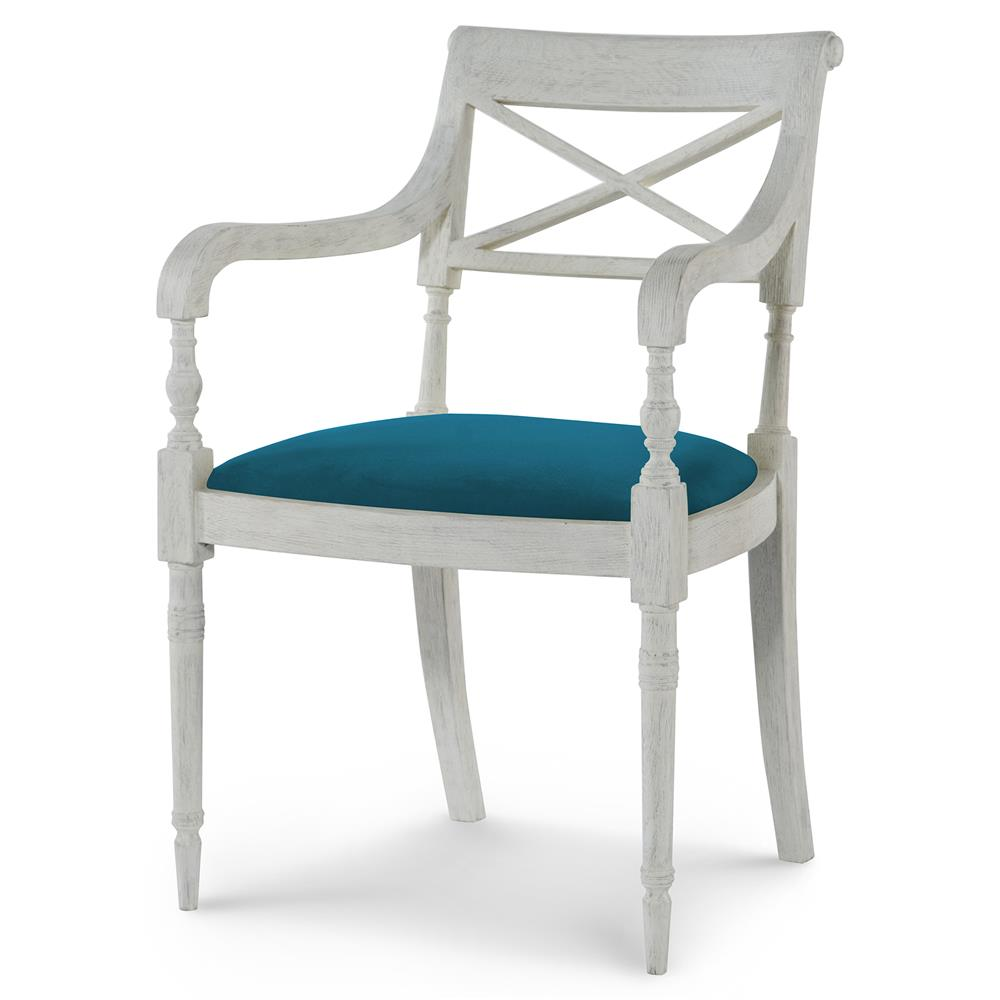 Mr brown armathwaite french white oak arm chair for Teal and brown chair