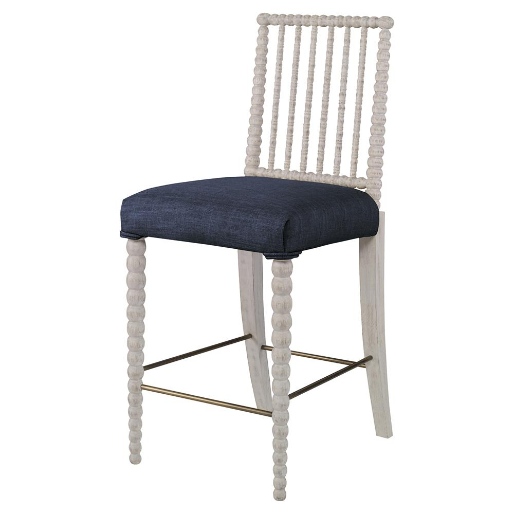 Haight Modern White Bead Counter Stool Navy Blue Linen