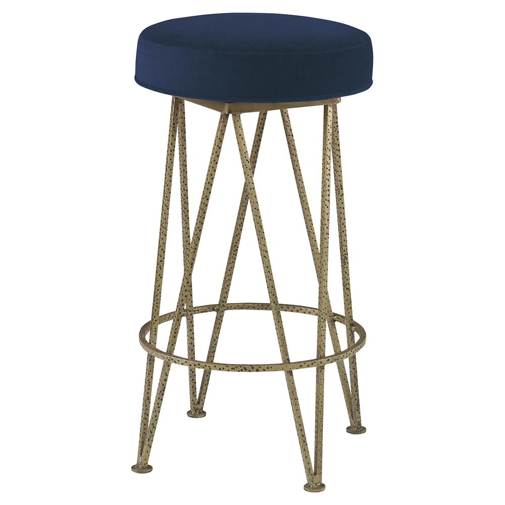 Mr brown lorca modern gold hairpin counter stool harbor blue velvet kathy kuo