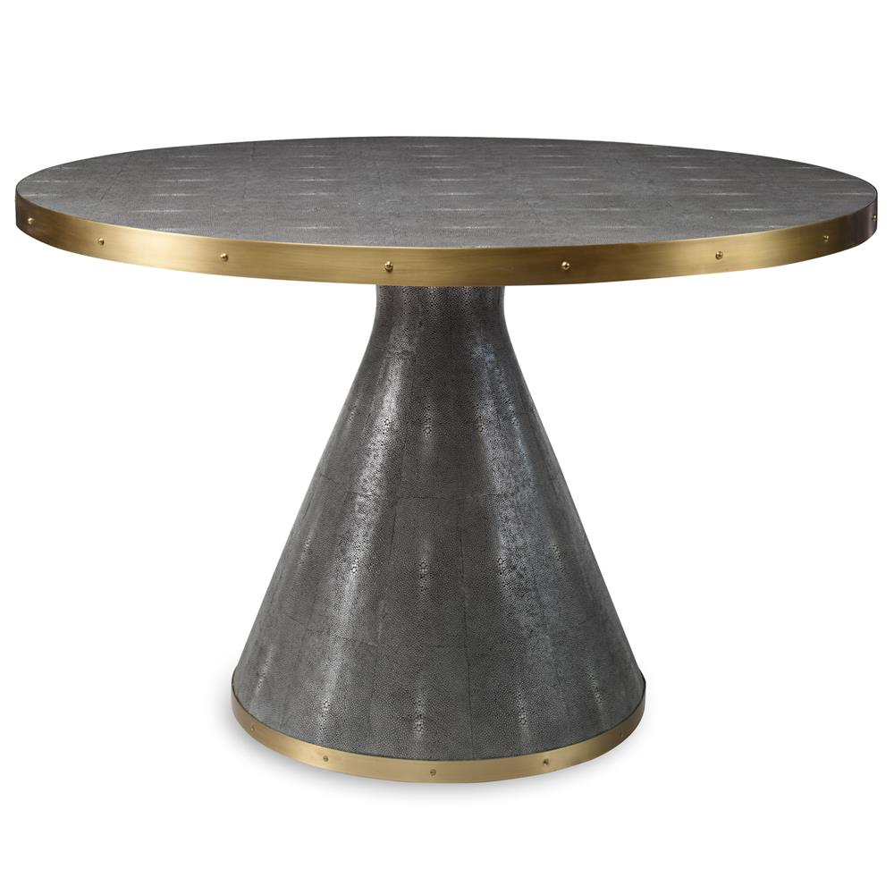 Bowie Modern Grey Faux Shagreen Round Brass Dining Table   48D | Kathy Kuo  Home