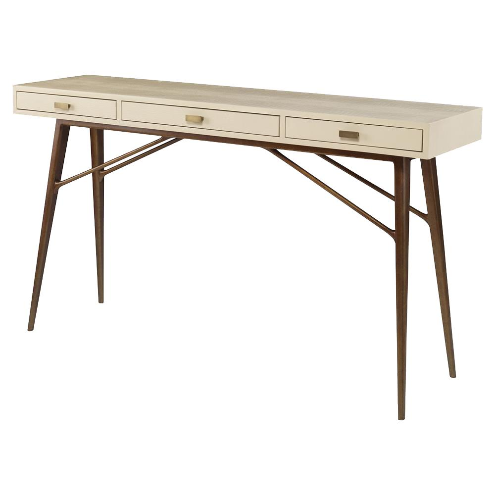 Mr. Brown Luciano Mid Century Faux Ivory Croc Gold Pin Console Desk | Kathy  Kuo ...