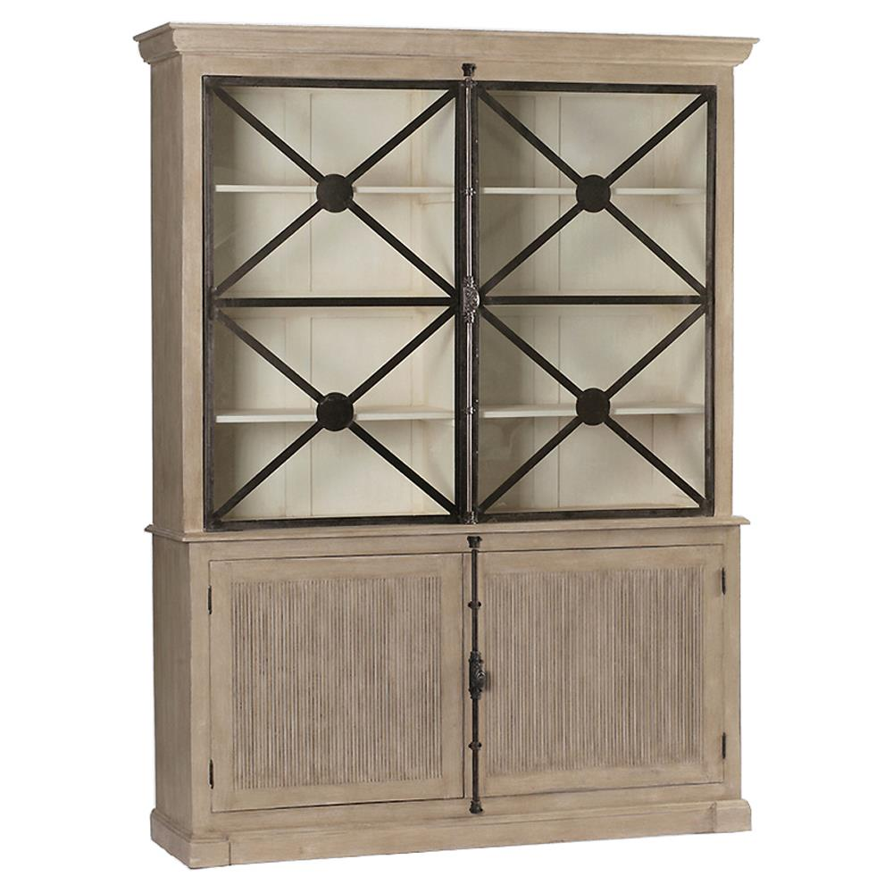 Boone Rustic Lodge Grey Iron Kitchen Cabinet  Kathy Kuo Home