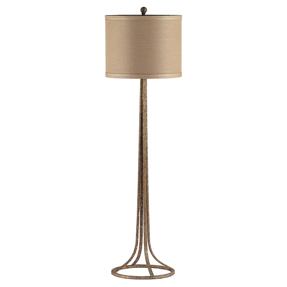 Etienne French Country Gilded Metal Linen Floor Lamp