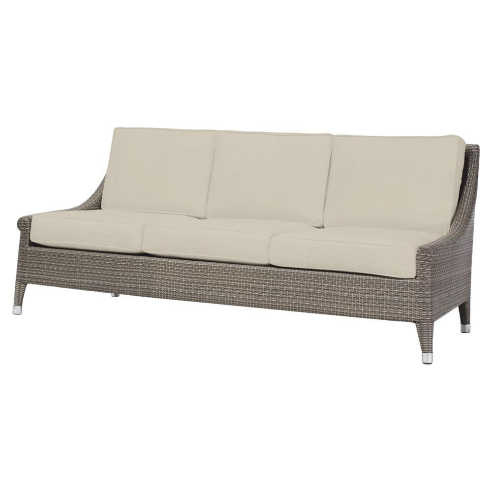 Signe coastal modern faux rattan salt outdoor sofa kathy for Modern rattan sofa
