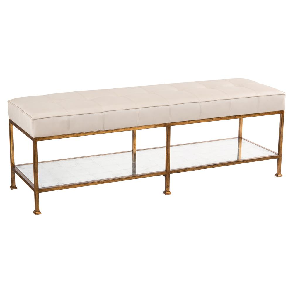 Macrine Regency Mirrored Tufted Grey Leather Bench Kathy Kuo Home