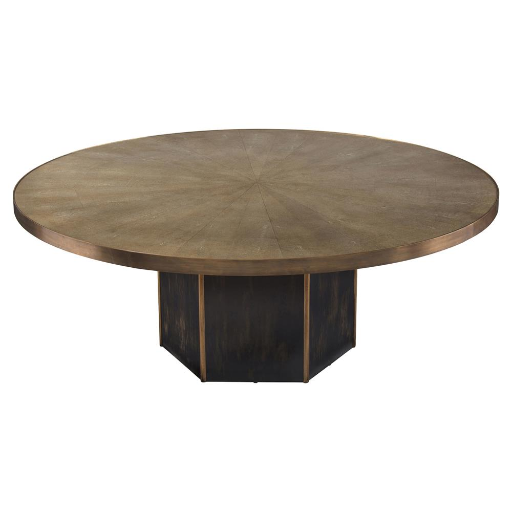 regency brass faux shagreen octagonal coffee table kathy kuo home