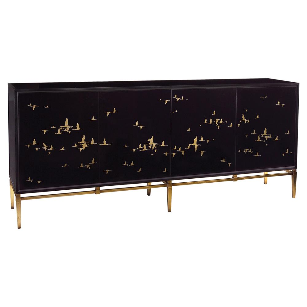 John Richard Geraldine Regency Black Glass Gold Bird Credenza