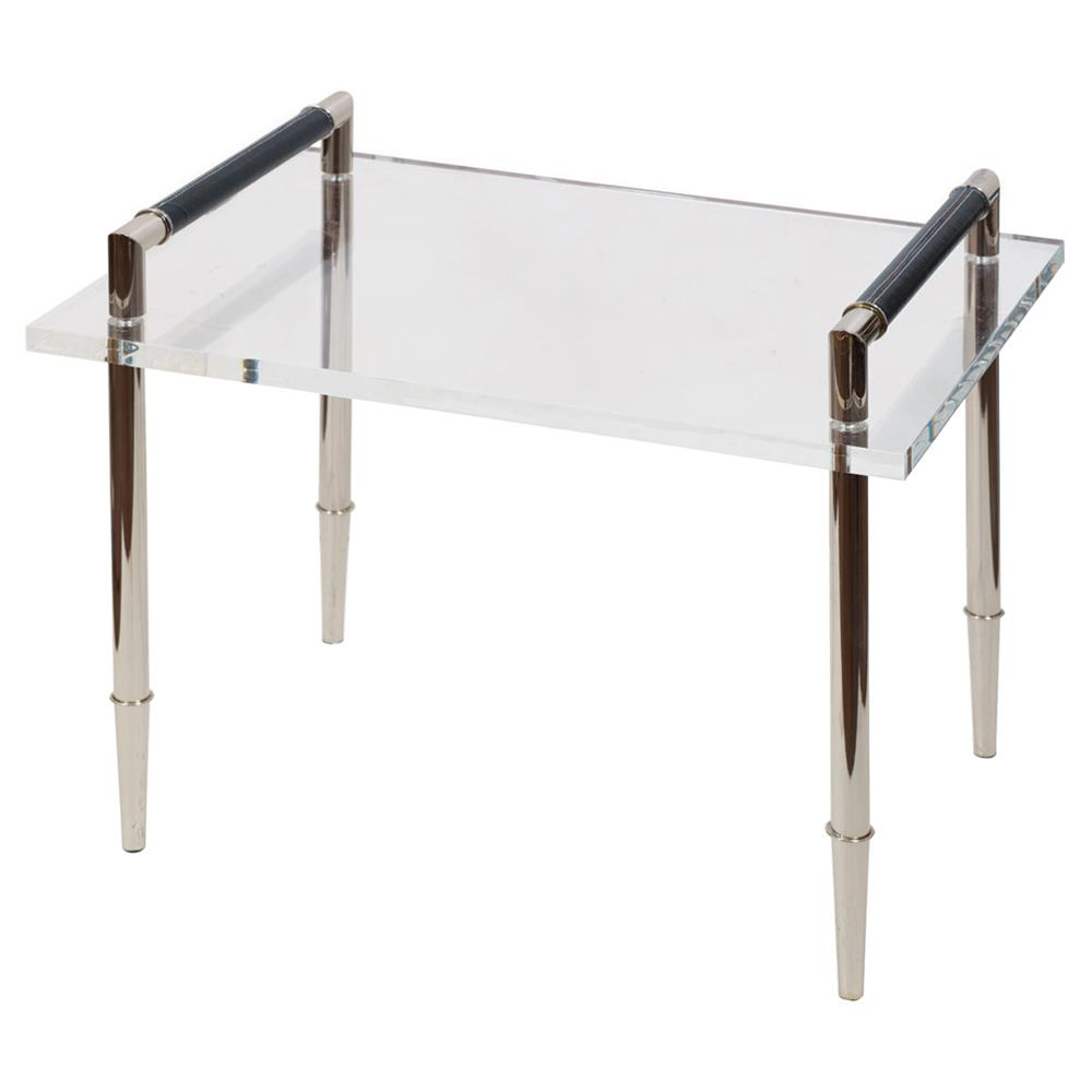 Tyrell Modern Classic Lucite Polished Silver Side End Table