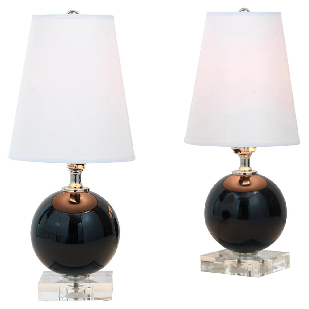 Katie Modern Black Ball Lucite Base Mini Table Lamps   Pair | Kathy Kuo Home