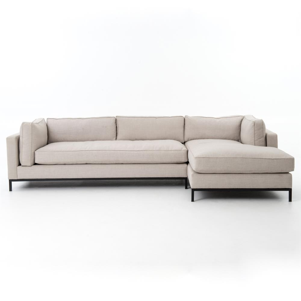 Diorama Modern Black Steel Light Grey Right Arm Sectional Sofa | Kathy Kuo  Home ...