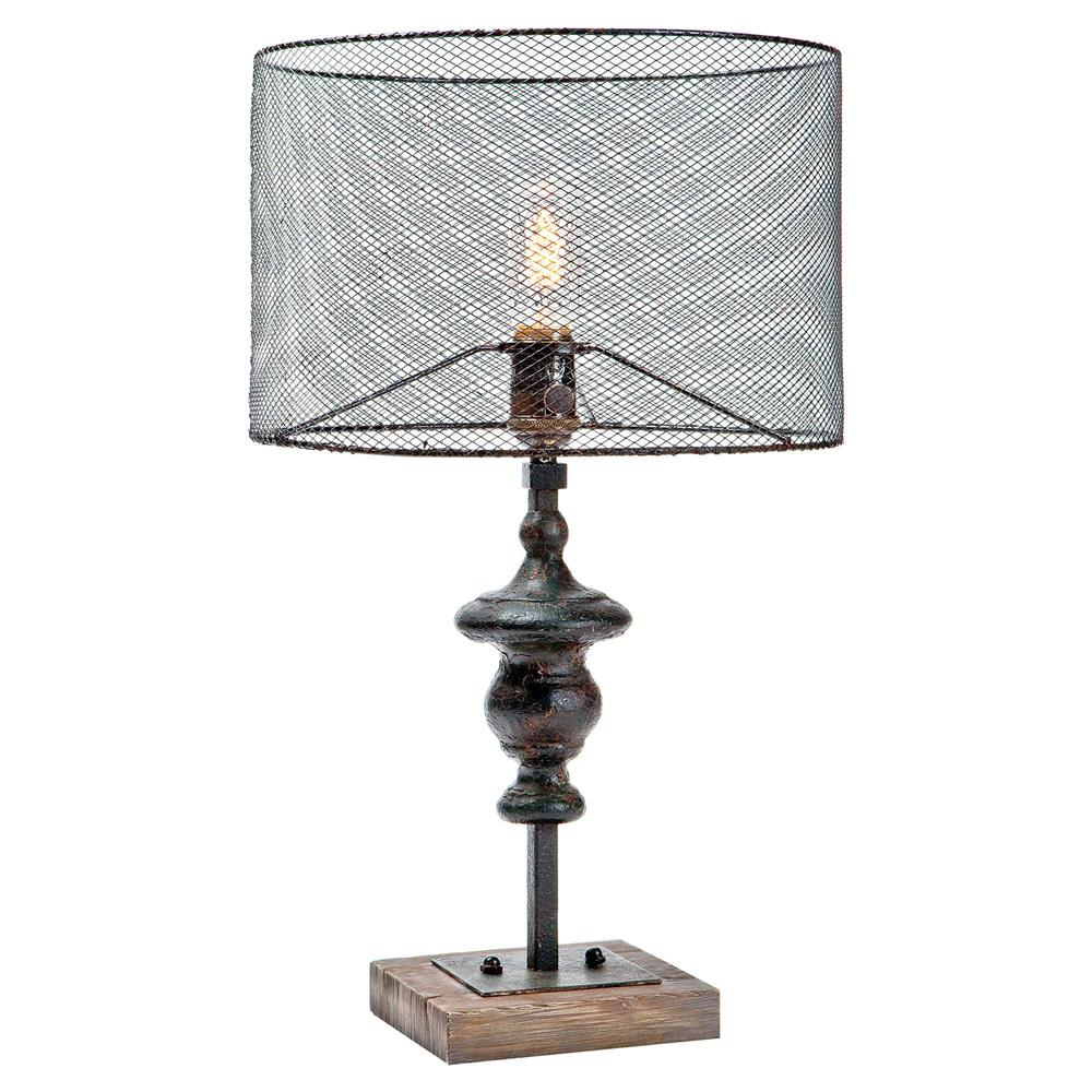 Eckley industrial loft rustic wire shade table lamp kathy kuo home greentooth Gallery