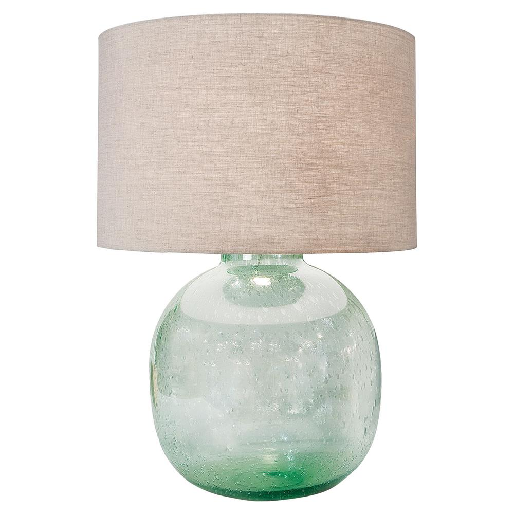 Amalfi Coastal Beach Green Seeded Glass Lamp