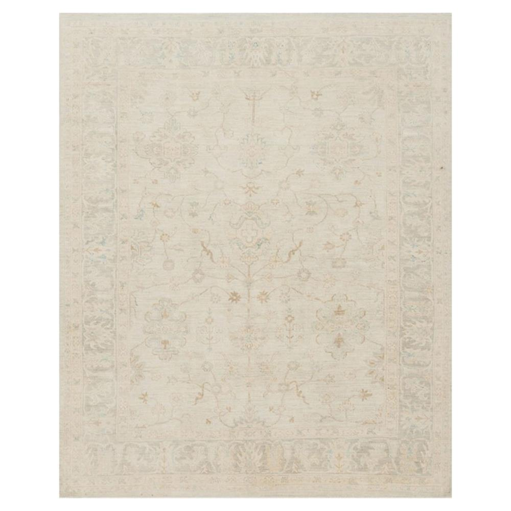 Baillot French Antique Mist Grey Vine Wool Rug 5 6x8 6