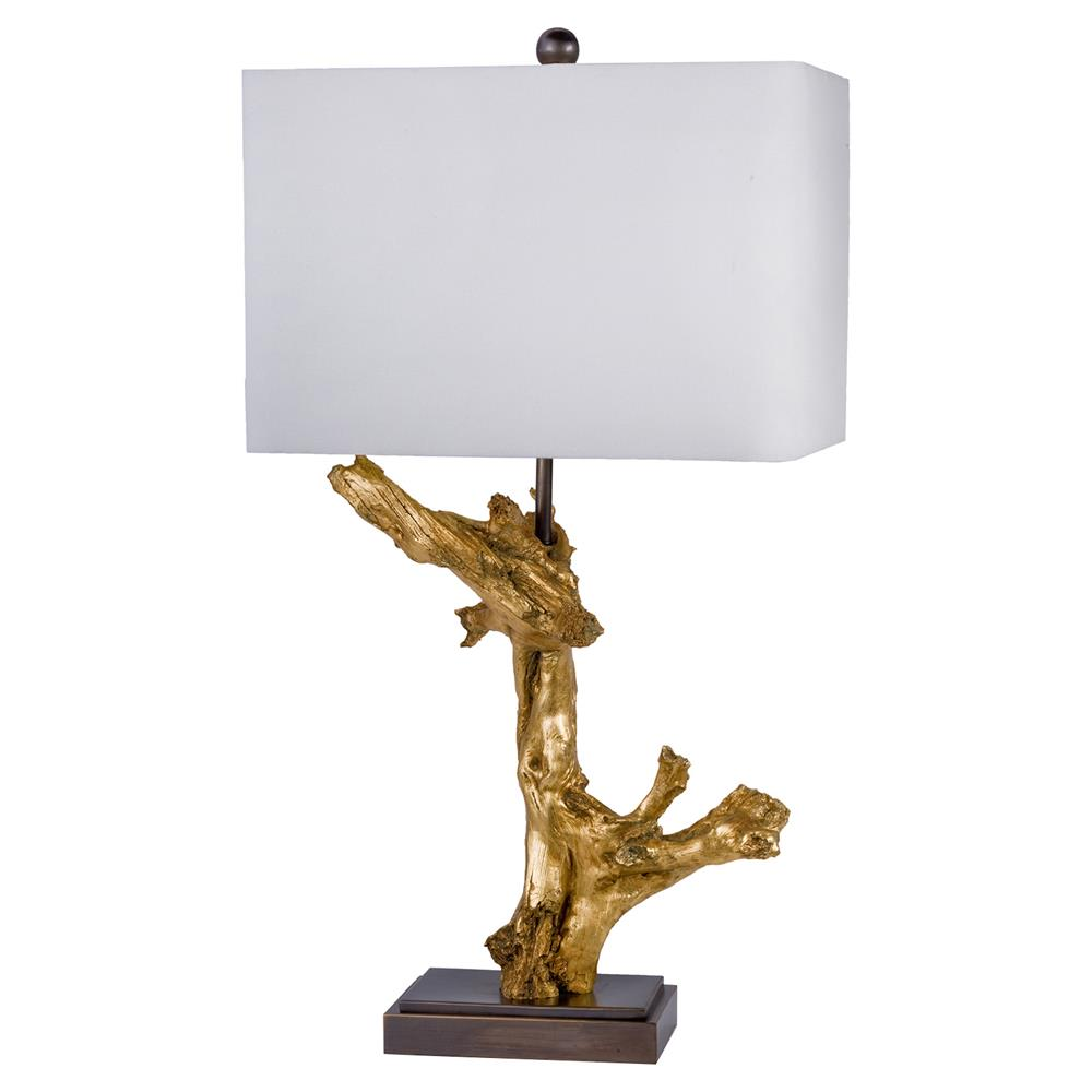 Driftwood Lighting Saltaire Modern Gilded Gold Driftwood Table Lamp Kathy Kuo Home