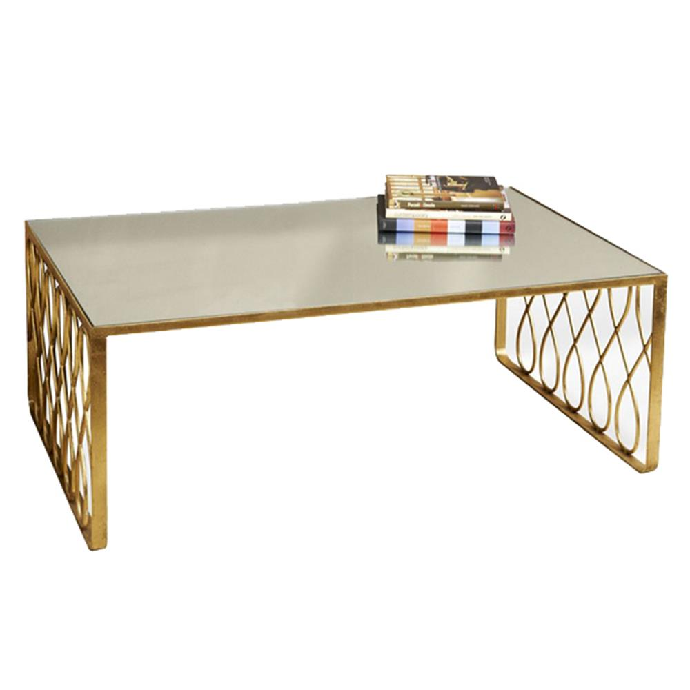 hollywood regency gold leaf mirror top coffee table kathy kuo home