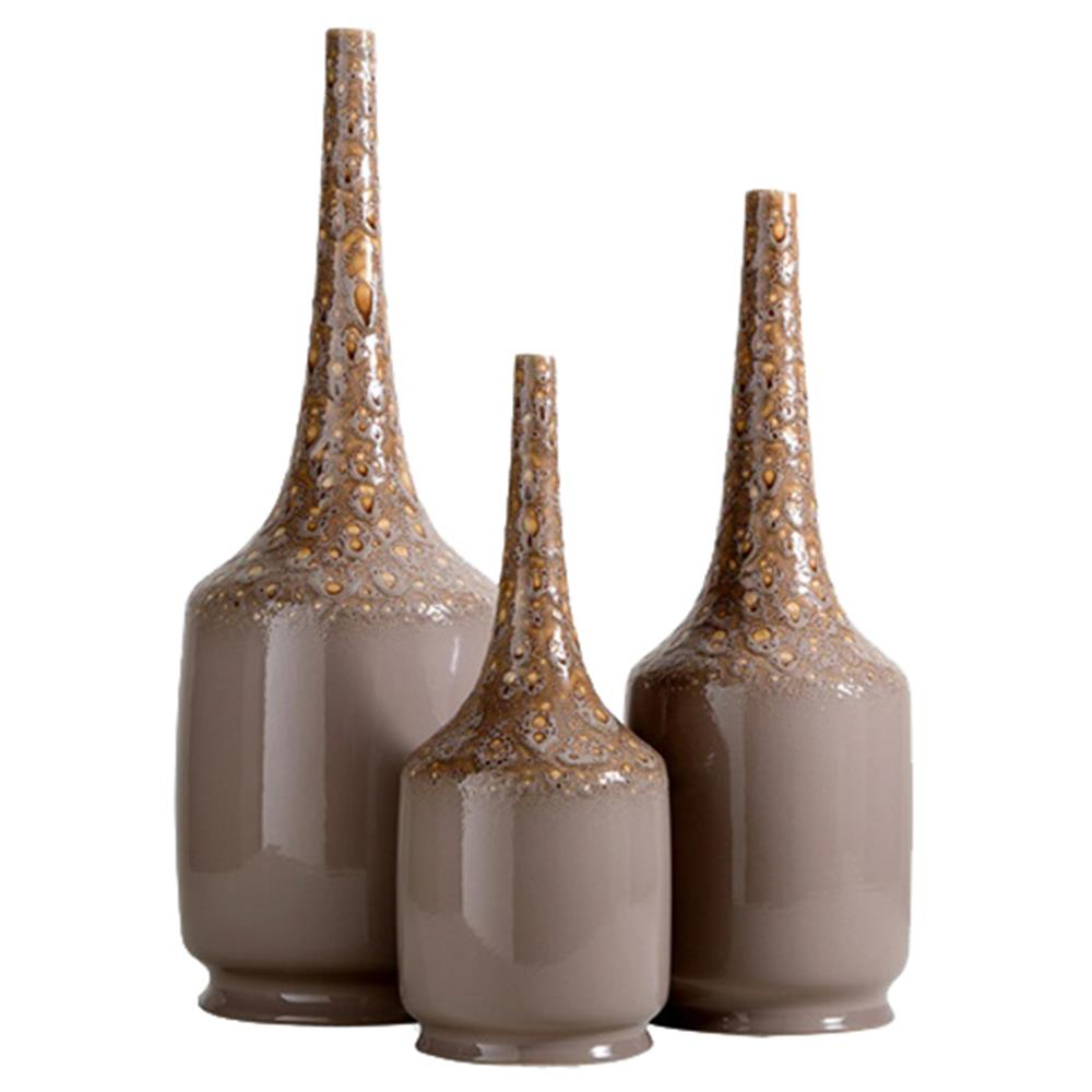 Delphi global mocha ceramic decorative bottles set of 3 for Decorative vials