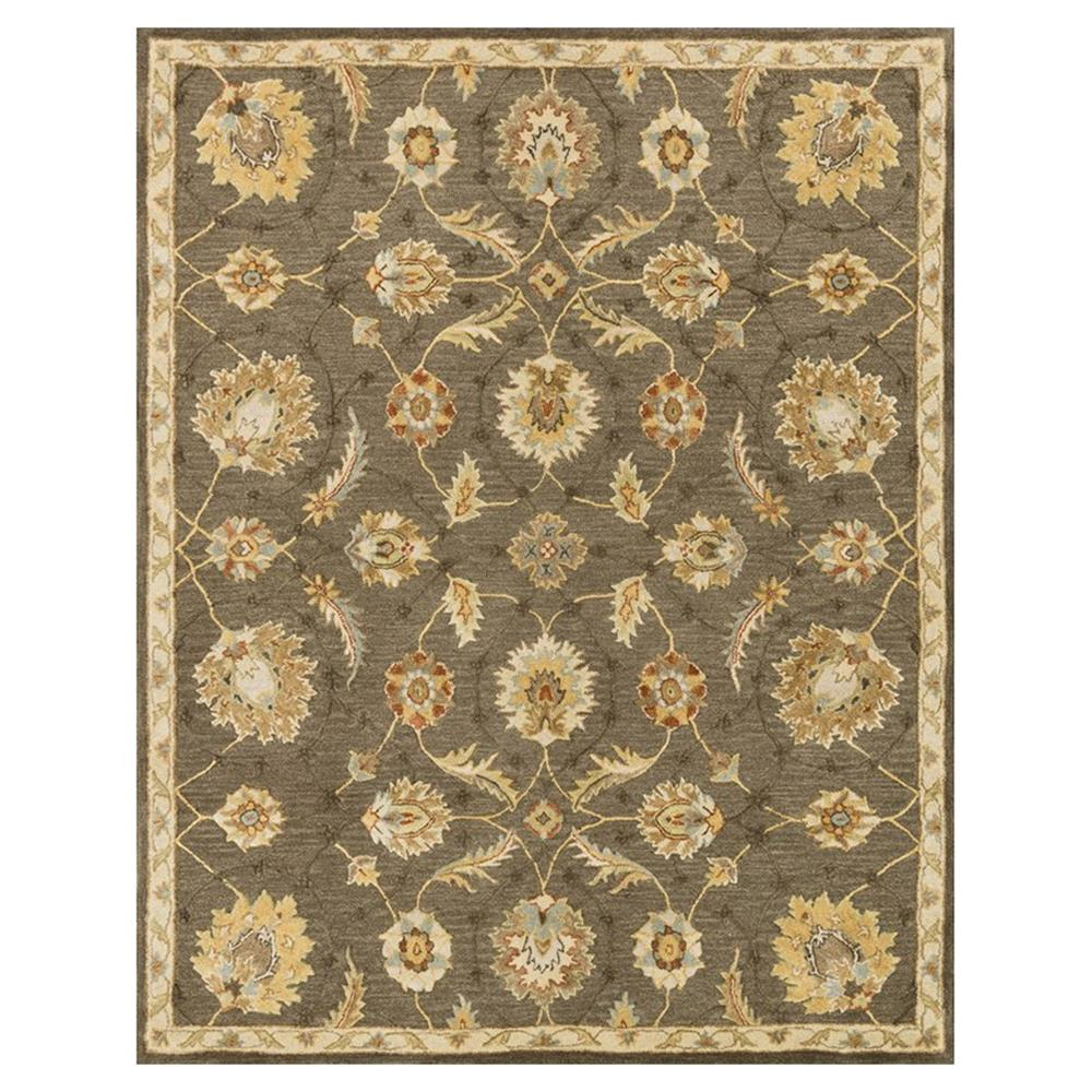 Robert French Country Coffee Brown Vine Wool Rug 9 3x13