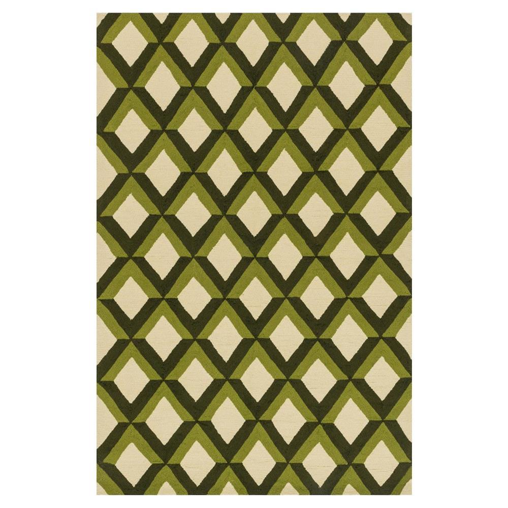 Sheela Modern Forest Green Trellis Outdoor Rug 3 6x5 6