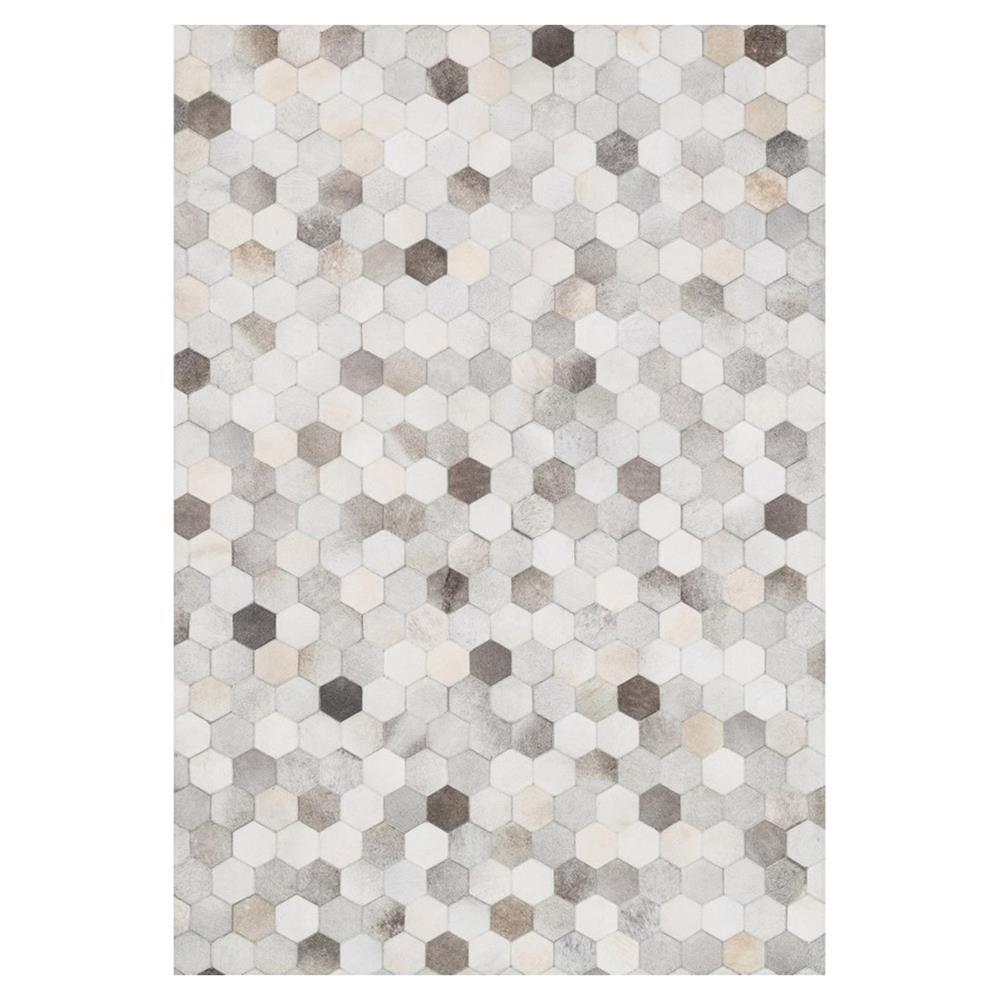 Ritu Rustic Modern Hexagon Grey Ivory Cowhide Rug 3 6x5 6 Kathy