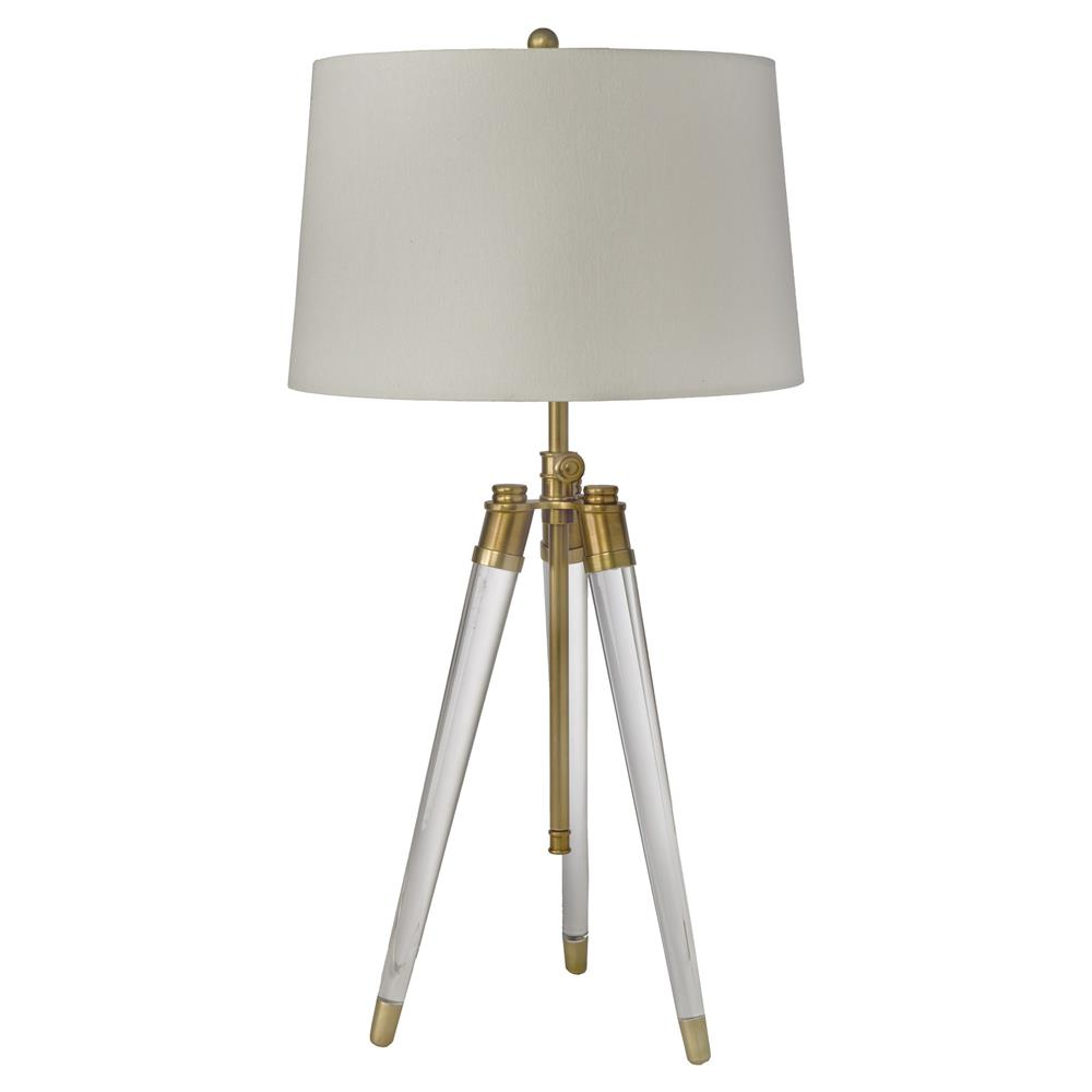 Hubble modern classic acrylic tripod brass table lamp kathy kuo home aloadofball Image collections