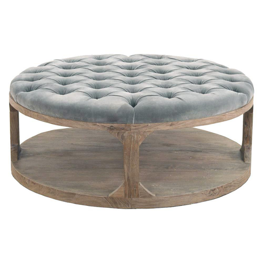 Modern Round Wooden Coffee Table 110: Marie French Country Round Muted Teal Tufted Wood Coffee Table