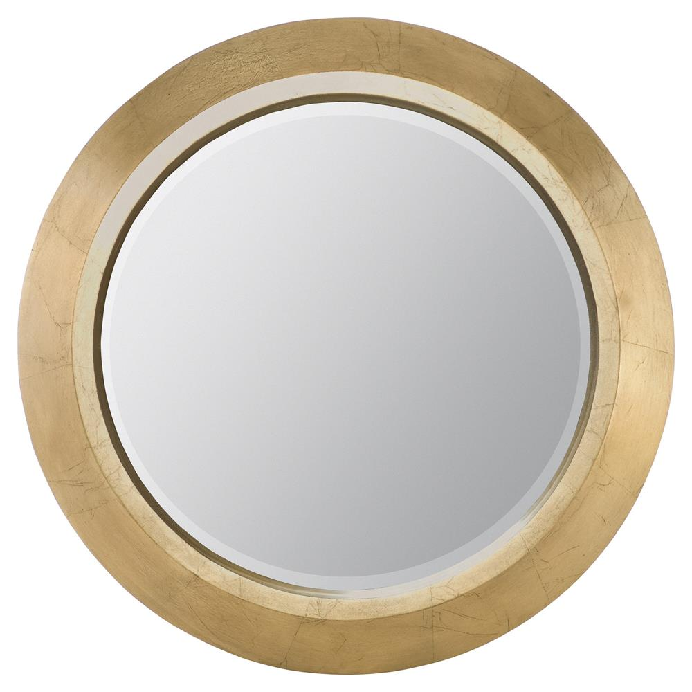 Crawford regency gold leaf round wall mirror kathy kuo home for Round mirror