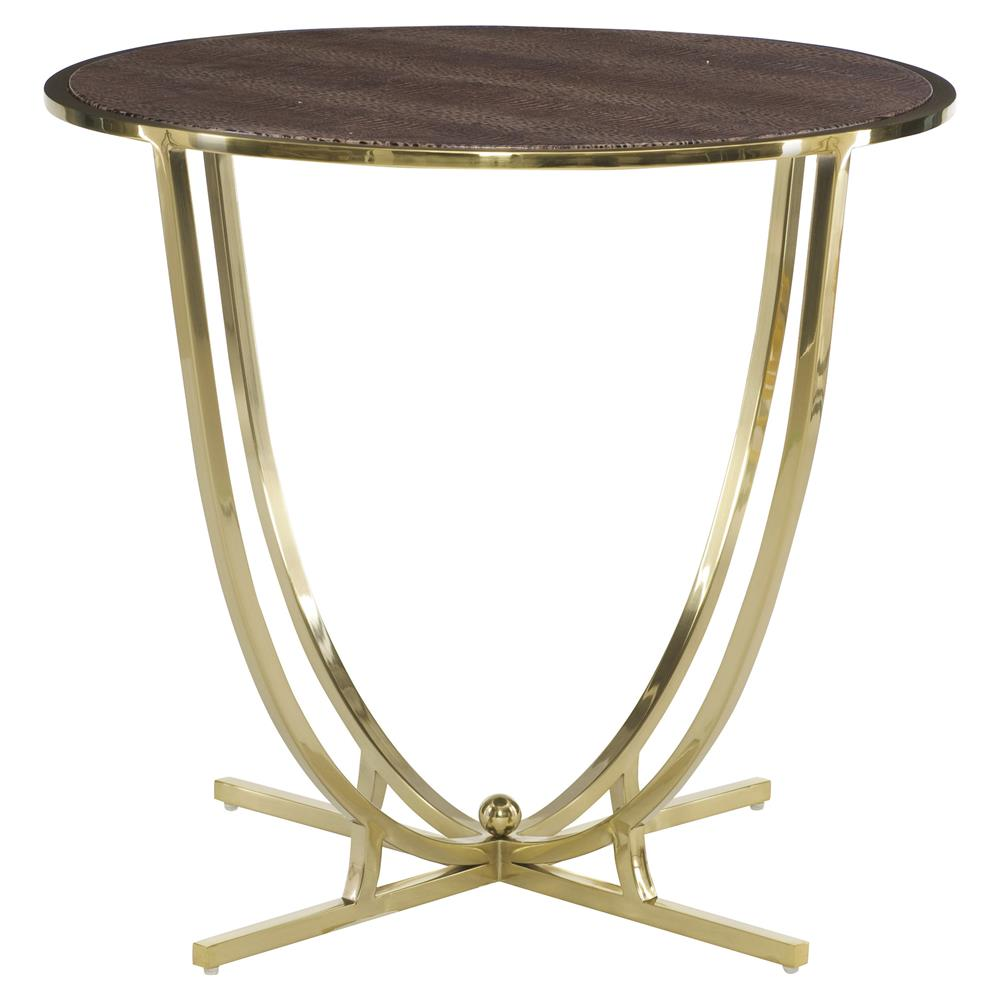 crawford hollywood round brass croc leather end table. Black Bedroom Furniture Sets. Home Design Ideas