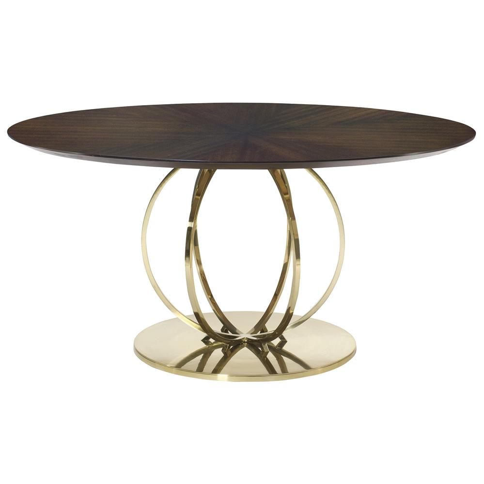 crawford hollywood regency brass globe round veneer dining table kathy kuo home. Black Bedroom Furniture Sets. Home Design Ideas
