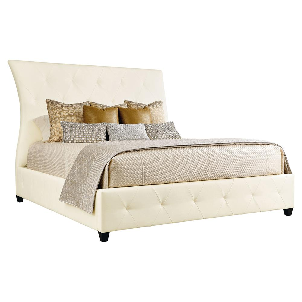 Crawford White Leather Tufted Hollywood Bed King Kathy