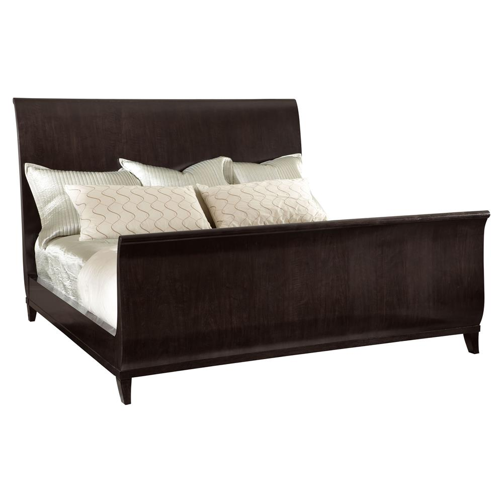 Willa Modern Regency Black Walnut Sleigh Bed Queen