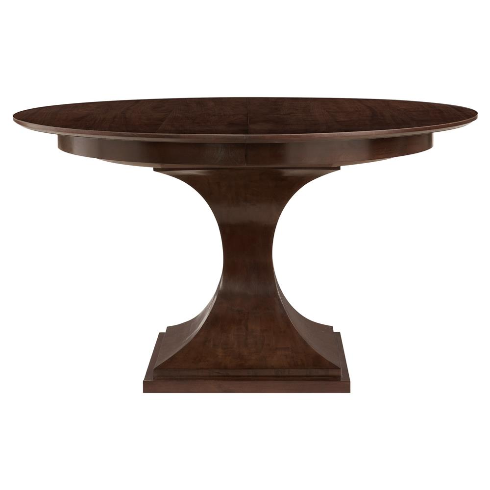 Willa modern brown walnut round dining table kathy kuo home for Contemporary round dining table