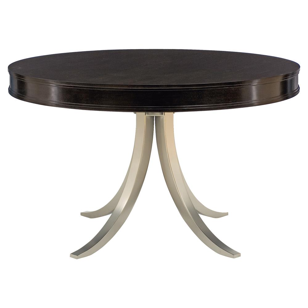 Willa modern nickel black walnut round dining table for Modern round dining table