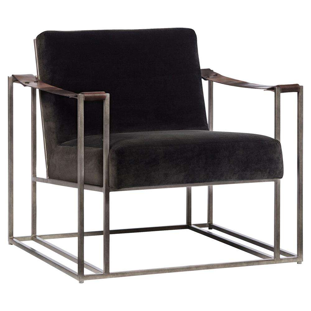 gideon industrial brown fabric leather strap armchair