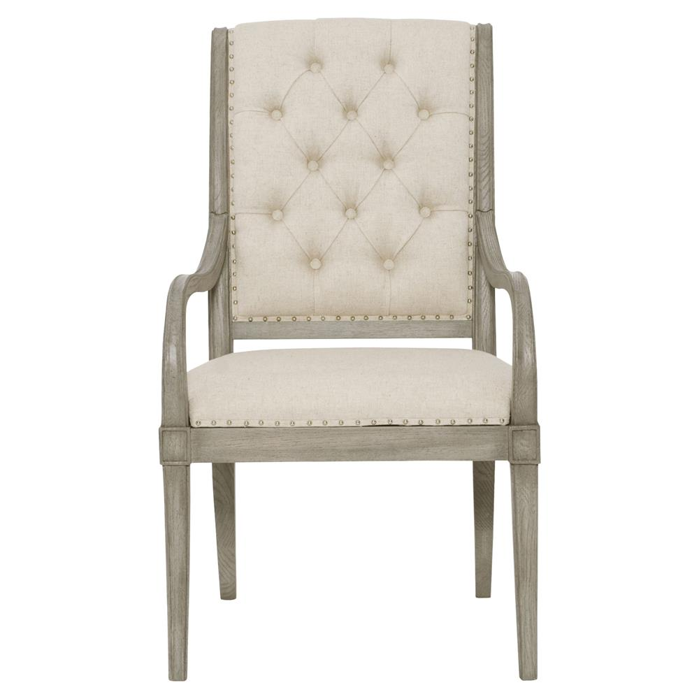 Natalie French Country Beige Tufted Grey Arm Chair Pair