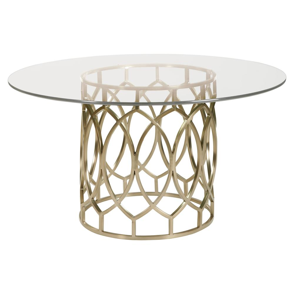Gold Dining Tables ~ Oriana modern classic gold pedestal glass dining table