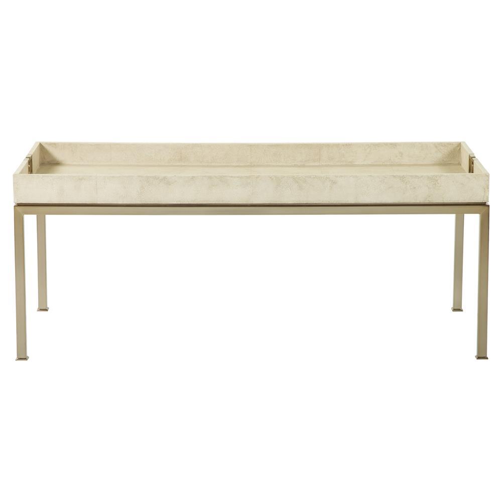 oriana ivory faux shagreen tray gold coffee table kathy