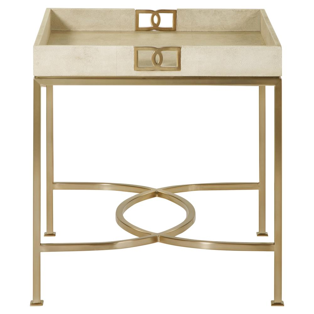 Oriana ivory faux shagreen tray gold side table kathy for Tray side table